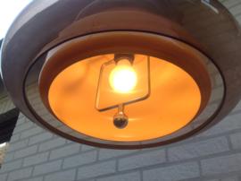 Design hanglamp. Plexiglas (smoke kleur) geborsteld aluminium. 70's.