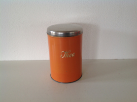 Theeblik oranje. 17 cm.
