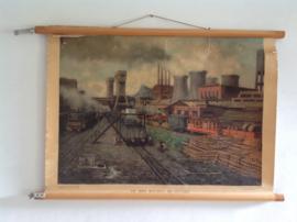 Oude schoolplaat.  De mijn Maurits bij Sittard. Voor 1950.