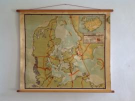 Oude schoolplaat.  Denemarken / IJsland.