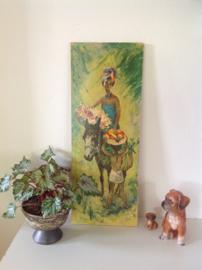 Wanddecoratie. Vrouw met manden fruit.