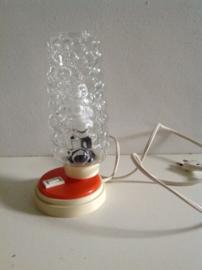 Nachtkastlampje. Oranje en glas. Hawill. 60's/70's.