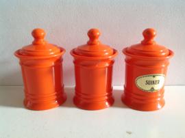 Set voorraadpotten.  Oranje.