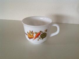 Koffiekop / soepkom. Arcopal. Dessin Groenten.