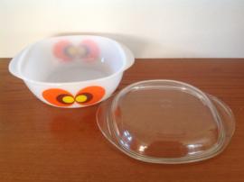 Oven / dekschaal Jena Glas. Pauwenoog. 20 cm.