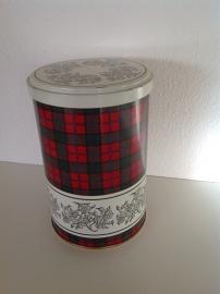 Tomado voorraadblik. Schotse ruit. 17 cm hoog.