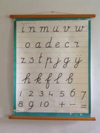 Oude schoolplaat.  Schrijven. Letters & Cijfers.