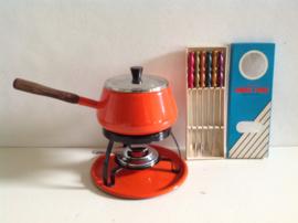 Emaille fondue set. Brabantia. Oranje.
