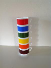Arcopal kopjes. 6 stuks. Primaire kleuren.