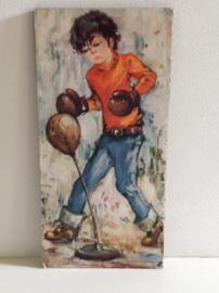 Decoratie. Jongen met bokshandschoenen.