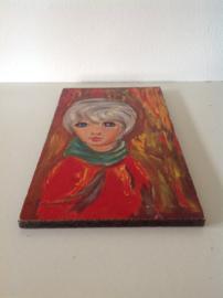 Wanddecoratie. Vrouw met rode trui.