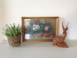 Wanddecoratie. Stilleven bloemen en fruit.
