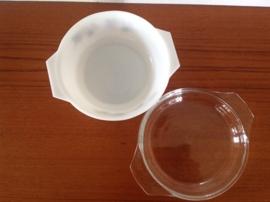 Schaal met transparant deksel. JAJ. 19 cm