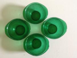 Set van 4 groene glazen kommen.