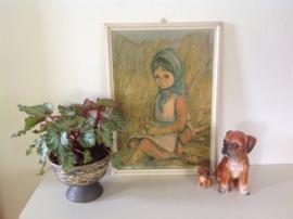 Wanddecoratie. Meisje in tarweveld.