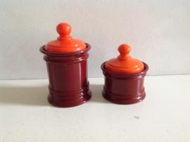Set voorraadpotten.  Emsa. Bruin/Oranje.