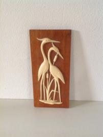Decoratie Reigers in het riet op hout.