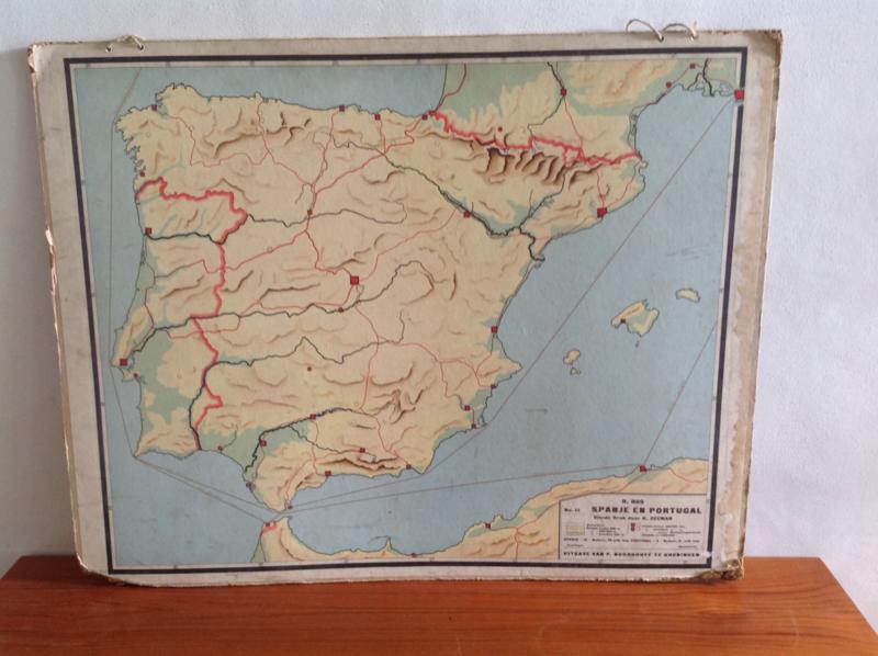 Wandkaart School. Spanje en Portugal.