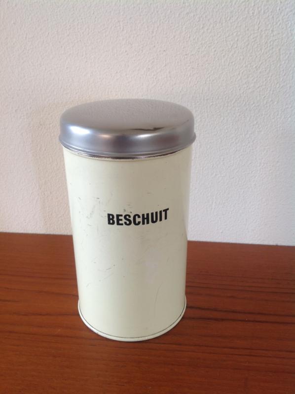 Brabantia Beschuitblik. Wit, chromen deksel.