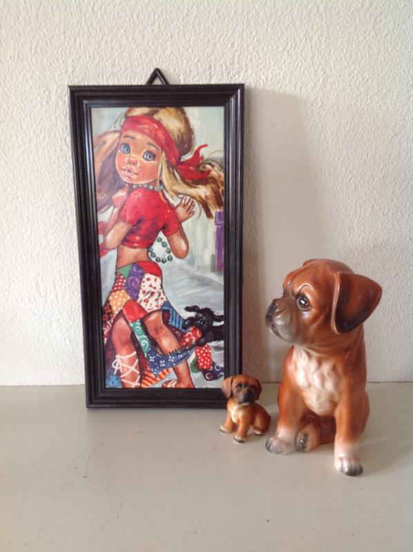 Decoratie. Meisje met rode haarband en hondje.