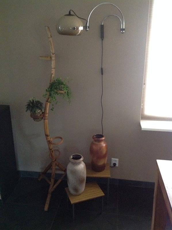 Rotan plantenslang met lamp, bijzettafeltjes en West Germany vazen.
