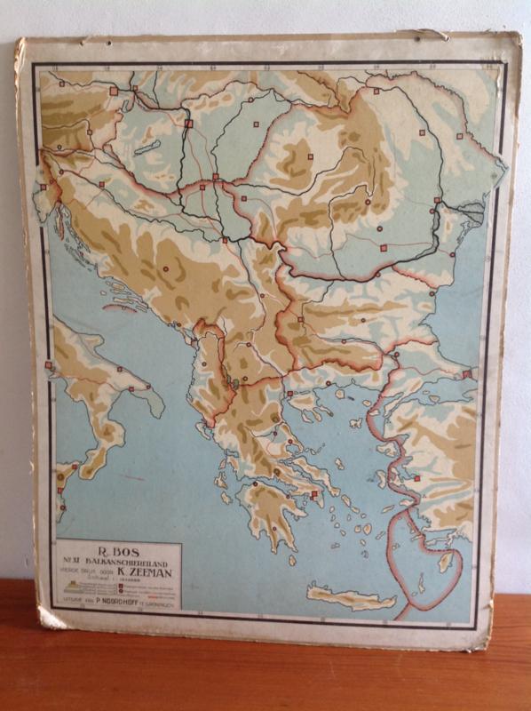 Wandkaart School. Balkan schiereiland.