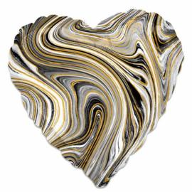 Hart ballon marble goud - zwart  (43cm)