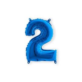Folieballon cijfer 2 blauw (35cm)