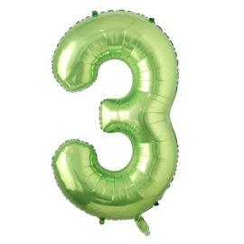 Folieballon cijfer 3 groen (102cm)
