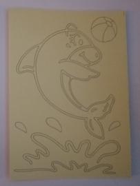 Dolfijn met bal  afmeting (12,5 x 17,5 cm)