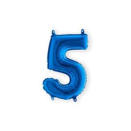 Folieballon cijfer '5' blauw (35cm)