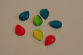 Druppel vorm neon kleuren  15 mm (per 5)