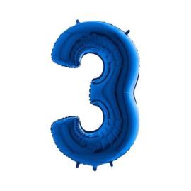 Folieballon cijfer 3 blauw (35cm)