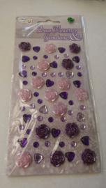 Deco Flowers & Gemstone kleur paars en roze