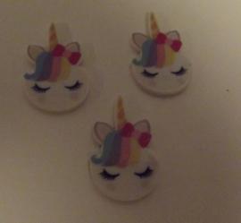 Unicorn met strik    (setje van 3 stuks)