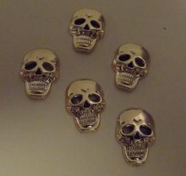 Doodshoofd goudkleur 1,8 cm x 1,2 cm   (per 5 stuks)