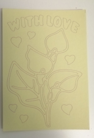 With Love FLower  afmeting (12,5 x 17,5 cm)