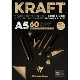 Kraft Papier Blok A5 formaat , bruin/zwart
