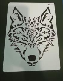 Wolf  schmink/Airbrush sjabloon XXL   21 x 29 cm