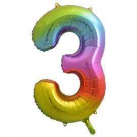 Folieballon cijfer 3 regenboog (  86 cm)