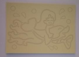 Dolfijn met meisje  afmeting (12,5 x 17,5 cm)