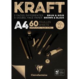 Kraft Papier Blok A4 formaat , bruin/zwart