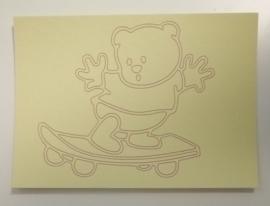 Beer op skateboard  afmeting (12,5 x 17,5 cm)