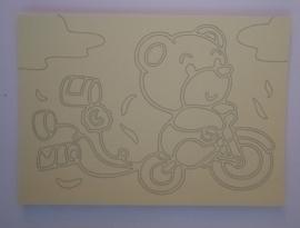 Beer op fiets  afmeting (12,5 x 17,5 cm)