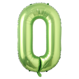 Folieballon cijfer 0 groen (102cm)