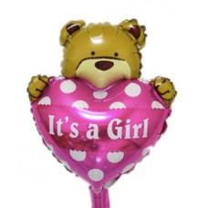 Folieballon  Geboorte Baby roze beer hart (30 cm)