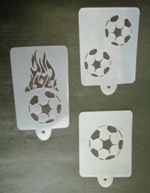 set van 3 voetbal Schmink Sjablonen