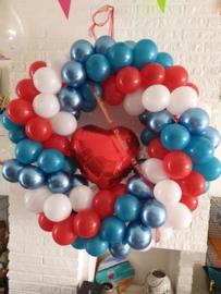 Ronde ballondecoratie incl folieballon in het midden (groot)