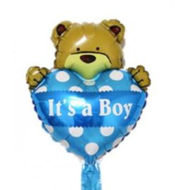 Folieballon  Geboorte Baby blauw beer hart (30 cm)