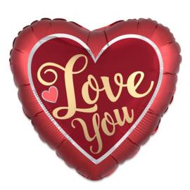 Folieballon satin hart 'Love You' (43cm)
